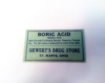 Antique Pharmacy Label, Boric Acid Label,  Boric Acid Antique Pharmacy Label, Vintage Pharmacy Label, Siewart's Drug Store *Free Shipping*