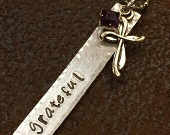 """hand stamped """"grateful"""" birthstone necklace, custom """"grateful"""" cross necklace with birthstone, personalized gift, birthday gift"""