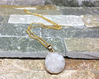 Druzy necklace agate white gold chain