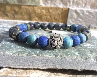 Lion bracelet Larvikitt lapis lazuli men Bracelet Lion bracelet