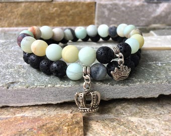 Partner bracelets Crown King & Queen bracelet set him and Amazonite lava beads 8 mm long distance relationship