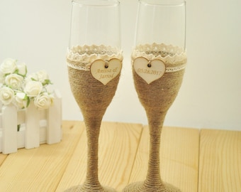 1 Set Personalized Wedding Glasses, Wedding Champagne Toasting Flutes, Customized Names&date, Burlap Lace Rustic Flutes