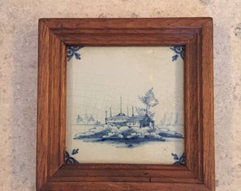 18th Century Oak Framed Dutch Delft Tile