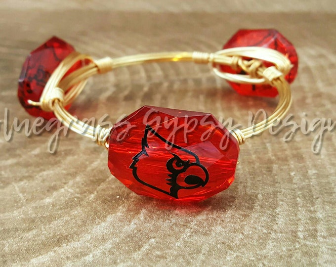 20% off University of Louisville Wire Wrapped Bangle, Bracelet, Bourbon and Boweties Inspired