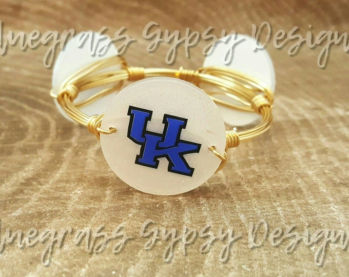 20% off University of Kentucky Wire Wrapped Bangle, Bracelet, Bourbon and Boweties Inspired