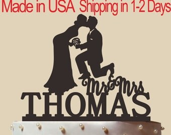 Personalized Cake Topper, Wedding Cake Topper,  Bridal Shower Topper, Wedding Decoration, Custom Mr and Mrs Cake Topper, Silhouette,  CT161
