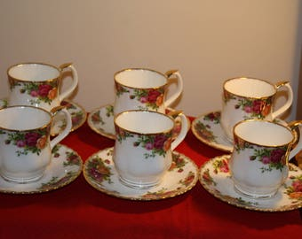 Royal Albert Old Country Roses set of 6 Breackfast mugs and Saucers. 2nd quality