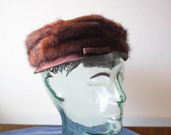 1960's Mink Pillbox Hat