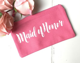 Maid of Honor Make up Bag | Maid of Honor Gift | Bridal Shower Gift | Bridal Shower Favors | Bridal Party Gifts | Maid of Honor US Spelling
