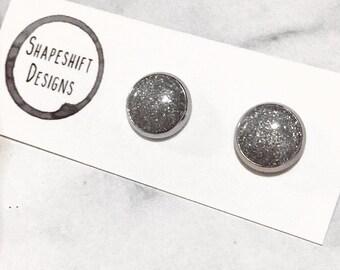 Handmade Polymer Clay Bezel Stud Earrings / Silver Glitter Clay