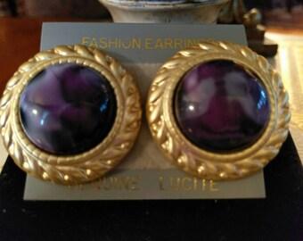 Pretty Purple Lucite Earrings