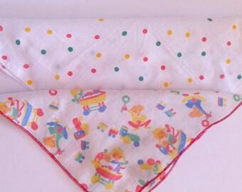 Children's Handkerchief - Vintage Cotton, Polka dot, Children's Toy's x 2 hankies.
