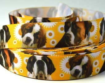 "7/8"" St. Bernard Dog - Print Grosgrain Ribbon"