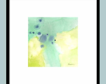 Print of ORIGINAL  ABSTRACT PAINTING, green and yellow abstract painting, original art print, 11x11 watercolor print 16x16 watercolor print