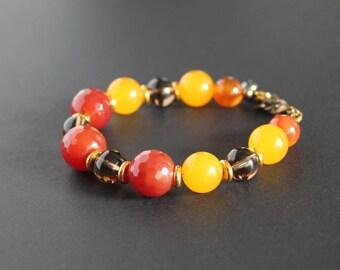 Smoky quartz stone jewelry Yellow gemstone bracelet Carnelian bead bracelet Yellow chalcedony jewelry Orange jewelry gift July birthstone