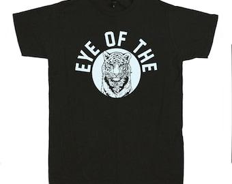Eye of the Tiger T-Shirt - Rocky Training Boxer Fighter 1970s Biker Big Jungle Cat Leon Leopard Black Tee Shirt T-Shirt Mens Ladies Womens