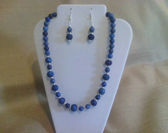 159 Lapis Blue Ceramic and Turquoise Beaded Choker