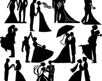 Wedding Silhouette Die Cut- Assorted couples topper x 11. Great for wedding craft, cardmaking, scrapbooking, embellishments, wedding lantern
