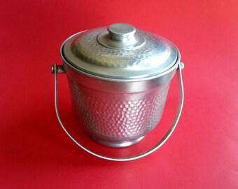 Hammered aluminum ice bucket Made in Italy vintage ice bucket