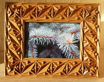 Carved Picture Frame 4x6 Photo Frame Natural Wood Oak