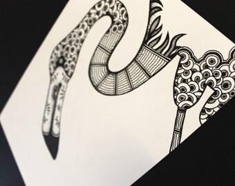 Flamingo illustration, Black & white ink drawing, Abstract Zen Nursery Animal art