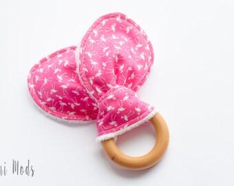 Pink Flamingo Organic Wood Teething Ring / Teething Toddler / Baby Christmas Gift / Baby Stocking Stuffer / Ready to Ship / UK Seller