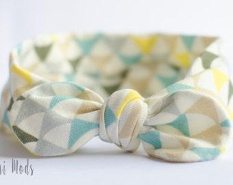 Geometric Top Knot Headband / Baby Headband / Knot Baby Headwrap / Yellow & Grey Headband / Tie knot Turban Headband / Baby Shower Gift / UK