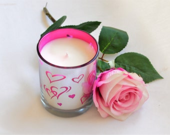 Scented Candle, Votive Candle, Rose Candle, Gift for Women, Anniversary Gifts, Birthday Gift, Love Heart, Teen Room Decor, Pink Decor