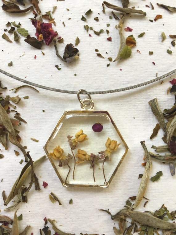 Milkweed flowers hexagon necklace