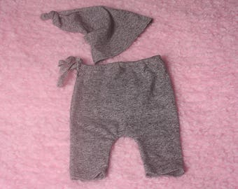 RTS Newborn Baby boy Stretch Grey ribbed fabric Hat + Trouser Set Photography Prop  with self adjusting same fabric side pull ties