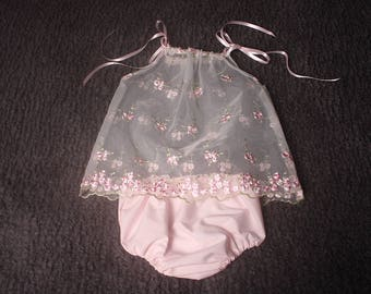 Newborn baby girl sitter white/pink lace trim border dress and diaper /nappy cover with shoulder ribbon ties Photographers Photography Prop