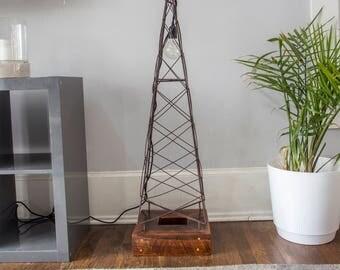 Steel and Reclaimed Wood Floor Lamp