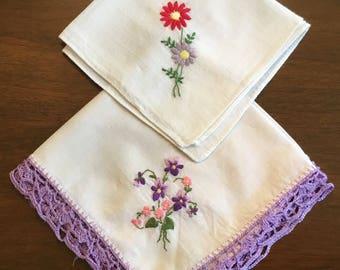 Two vintage handkerchiefs.