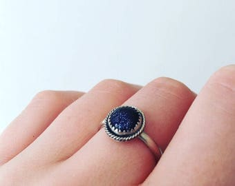 Blue goldstone ring//sterling silver ring//galaxy ring
