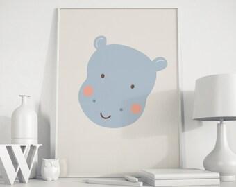 Hippo art, hippopotamus, hippo poster, hippo kids art, hippo wall art, nursery decor, nursery art, baby room decor,  playroom decor,