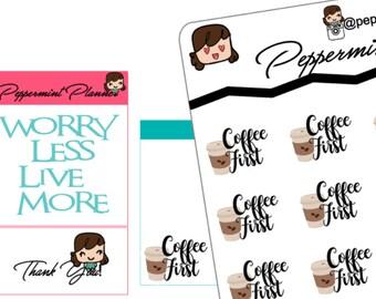 Coffee First Planner Sticker,  Planner Stickers {#42}