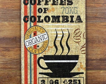"""Reproduction plate enamelled """"Coffees of Columbia"""" photographed on the Metal"""