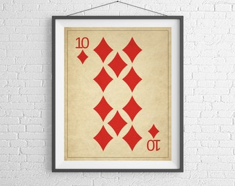Playing Card Art, Game Room Decor, Game Room Art, Game Room Wall Art, Poker Gifts, Gambling Gift, Vintage Wall Art, Man Cave Art, Bar Decor