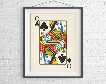 Queen of Spades, Playing Card Art, Game Room Decor, Game Room Art, Poker Gifts, Gambling Gift, Vintage Wall Art, Man Cave Art, Bar Decor