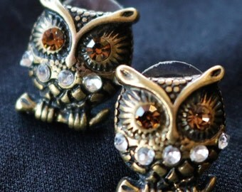 Owl Post Earrings/ Antiqued Brass Tone/Rhinestones