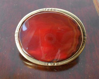 Large Antique Victorian Agate Brooch, Carnelian with Brass Setting with C Clasp, Scottish Brooch