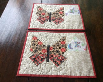 Two Butterfly Quilted Placemats.Table Toppere. Butterfly Mats.Home Decor.2 Placemats.Handmade.Patchwork Placemats.Gift.