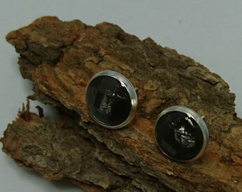 urban, copper ear studs in concrete and resin with a Silberrflocken, slightly faceted (252) - resin