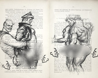 Gay erotic poster  / Tom of Finland fetish body sailor / 2 pages printing Antique  German book  decor interior picture ART erotic