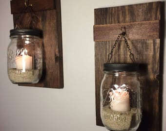 Set of 2 Hanging Mason Jars, Rustic Home Decor, Home & Living, Chain Hanging Candle Holder, Mason Jar Decor, Lighted Mason Jars, Mahogany