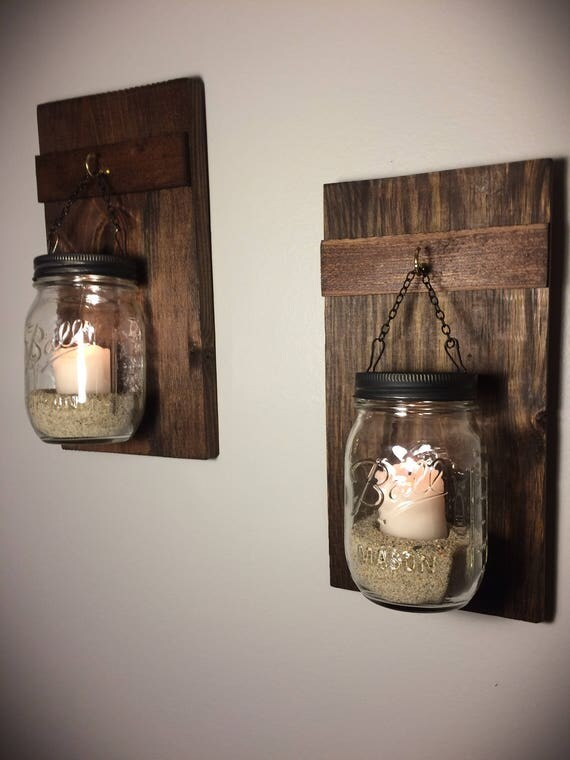 Set Of 2 Hanging Mason Jars Rustic Home Decor Home Amp Living