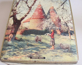 Old Confectionary Tin By Edward Sharp & Sons - Made In England - Vintage Candy Toffee Tin - Kent Scene - 1950's