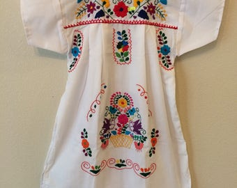 Hand Embroidered Mexican Dress - Size 6 Girls