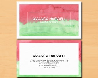 Business card, Watercolor business card template, Printable business card, Watercolor design, Custom business card - bc01