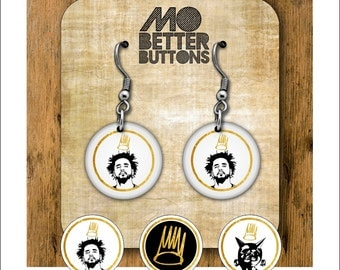 1 inch J Cole Button earrings choose 1 of three designs